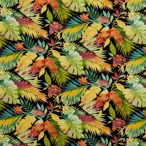 Brazil Aqua and Black Beach Print Drapery and Upholstery ...