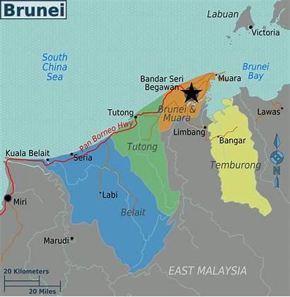 Brunei Map Regions Karte Asia Wikimedia Muara
