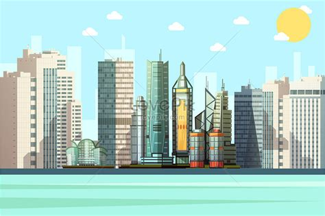 cartoon city vector building illustration imagepicture