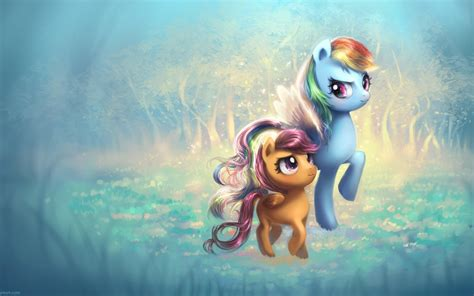 wallpaper ponies ponyville rainbow wing magical cute