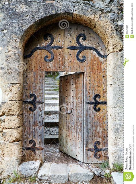 ajar  wooden door stock photo image