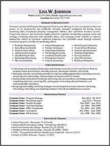 property management objective resume resume sles types of resume formats exles and templates