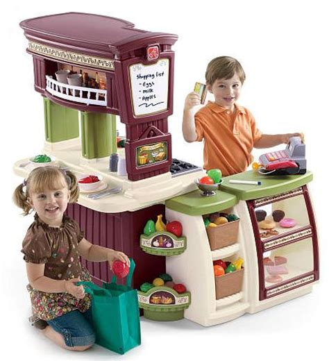 step2 lifestyle kitchen with green countertop lifestyle partytime kitchen play kitchen step2 9790