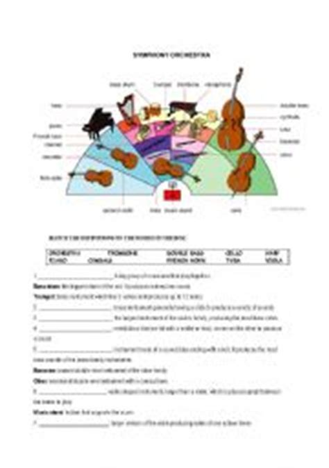 the orchestra esl worksheet by l
