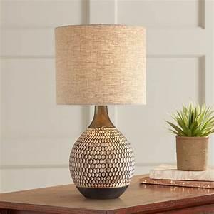 360, lighting, mid, century, modern, accent, table, lamp, brown, ceramic, drum, shade, living, room, bedroom