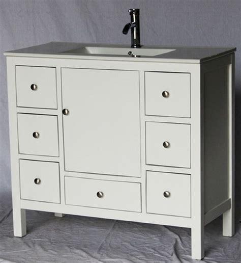 40 inch 18 deep white bathroom vanity 7 drawers white