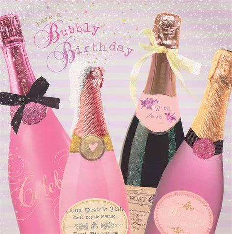 champagne birthday card birdsong cardspark happy