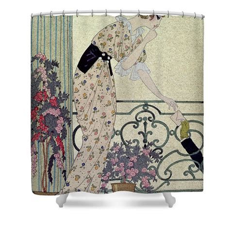 Can I Shower With A Ton In - gazette du bon ton shower curtain for sale by georges barbier