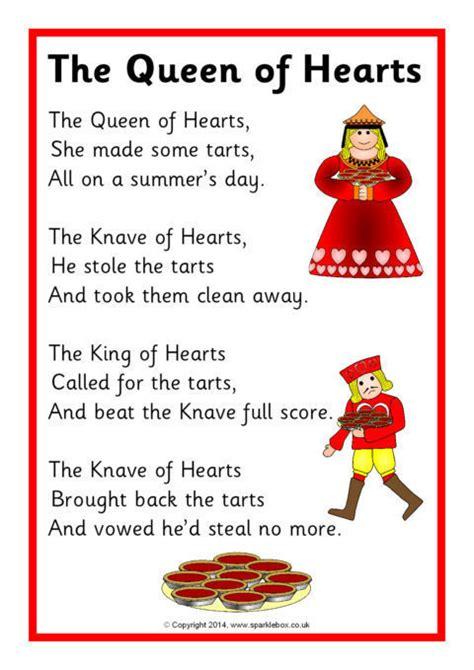 queen  hearts rhyme sheet sb sparklebox