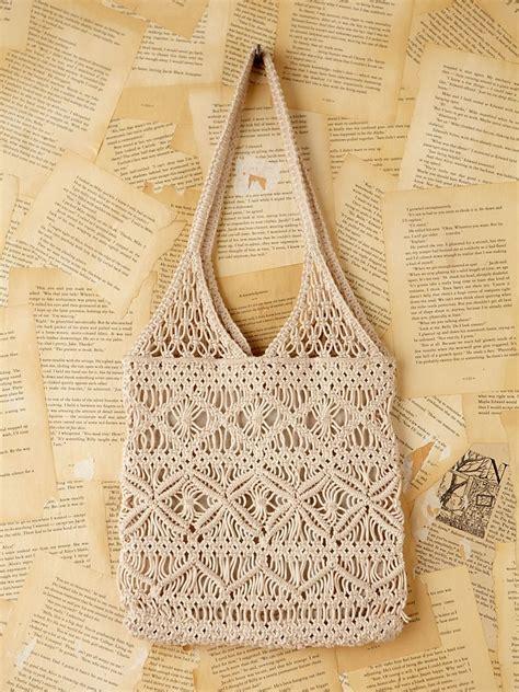 people vintage macrame handbag  natural lyst