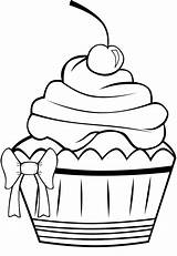 Cupcake Coloring Birthday Pages Clipart Cupcakes Panda Pretty Cookie sketch template