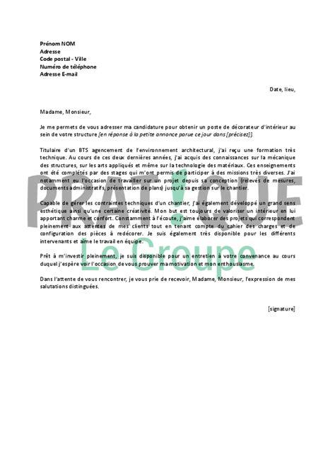 lettre de motivation pour un emploi de d 233 corateur d int 233 rieur d 233 butant pratique fr