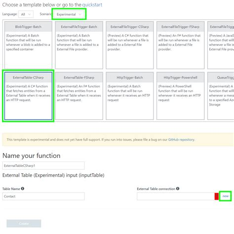 template function azure functions external table binding preview microsoft docs