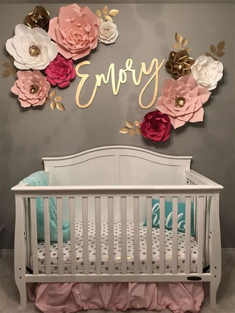 baby girl nursery  decal wall flowers pinterest