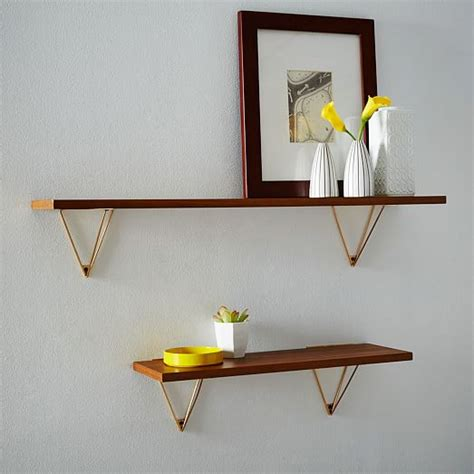 mid century wall shelf mid century shelving brackets west elm