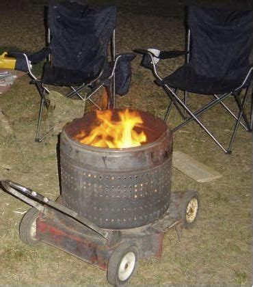 movable redneck fire pit  retired washer drum mower