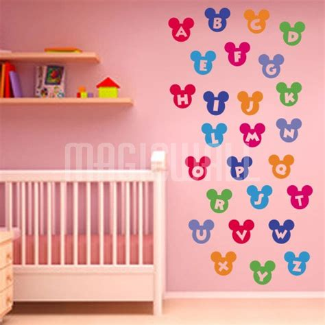 wall stickers colorful alphabet mickey mouse nursery