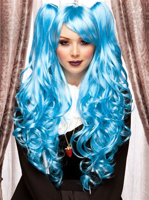 long blue anime wig  bouncy curls   hair pieces