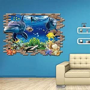 Carta Da Parati Murales : 3d adesivo da parete adesivi murales delfino e pesci 3d adesivo carta da parati web store ~ Frokenaadalensverden.com Haus und Dekorationen