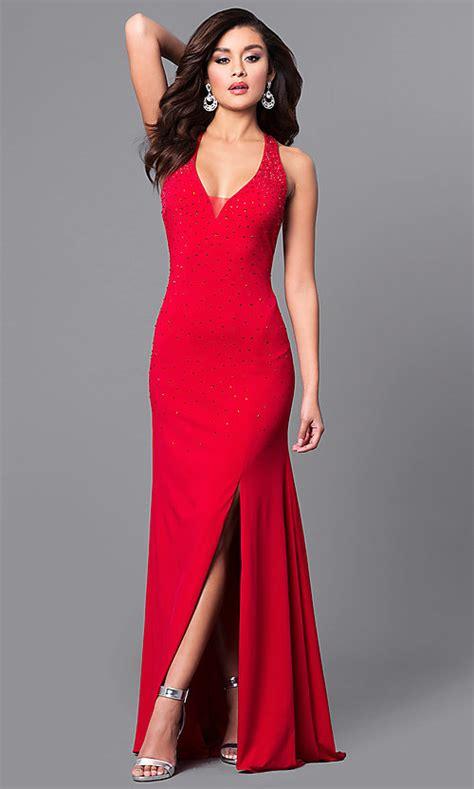 Open-Back V-Neck Long Red Prom Dress - PromGirl
