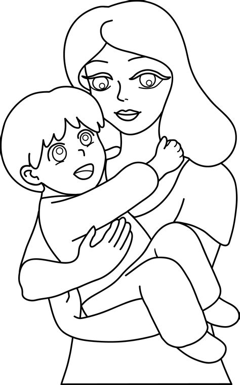 single parent family clipart black and white and child line free clip