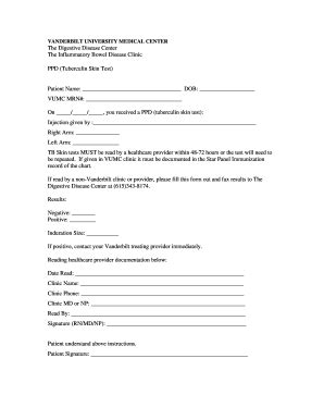 tb skin test form fill  printable fillable