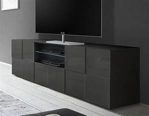 Meuble Gris Laqué : meuble tv gris laque design atmore zd1 ~ Nature-et-papiers.com Idées de Décoration