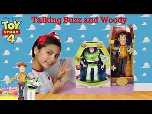 Disney Store Toy Story 4 Talking Woody Pull String and Talking Buzz Lightyear