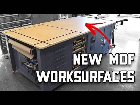 New Workshop MDF Work Surfaces with T-Track // Sealing MDF with Shellac