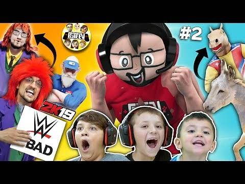 FGTEEV WWE 2K19 WRESTLING!! Our Donkey fights Cringey Principal and We Famous!