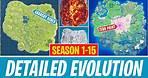 Detailed Evolution of the Fortnite Map (Season 1-15)