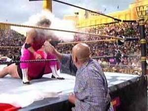 WWF Champion Bret Hart vs Yokozuna with Hulk Hogan challenge - WWF Wrestlemania 9