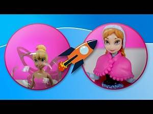 Frozen characters and Tinkerbell play and make bubbles
