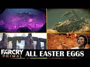 Far Cry Primal All Easter Eggs - Blood Dragon / Assassin's Creed / Flintstone's Car (PS4 / XB1 / PC)