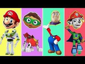 SuperWhy, Toy Story, Paw Patrol, Super Mario, Mickey Mouse Wrong Heads Finger Family