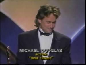Michael Douglas winning Best Actor for Wall Street