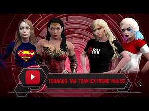 WWE 2K17 Naomi,Harley VS Wonder Woman,Supergirl In A Extreme Rules Tornado Tag Match