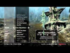 EVERY DAEDRIC ARTIFACT IN SKYRIM - SHOWING ALL THE ITEMS & STATS