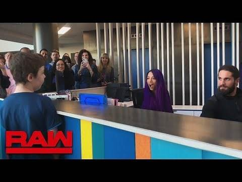 Sasha Banks and Seth Rollins surprise a young WWE fan at Make-A-Wish HQ: Raw, Jan. 28, 2019