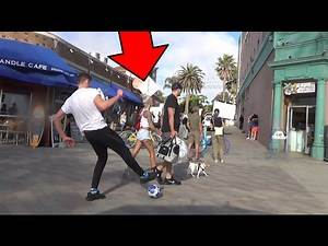 Public Football Challenge vs HOT Girls in L.A