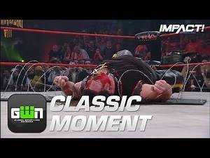Desmond Wolfe Powerbombs Abyss ONTO BARBED WIRE (TNA Slammiversary 2010) | Classic IMPACT Moments