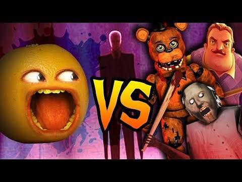 Annoying Orange vs Horror Video Game Icons! (Granny, Hello Neighbor, Baldi, Slender, Freddy)