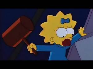 Maggie Hits Homer in the Head with a Mallet