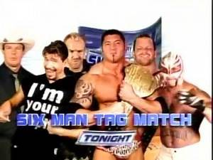 WWE SmackDown 7 10 05 Match Card Batista & Rey Mysterio & Chris Benoit Vs Eddie Guerrero & JBL & Chr