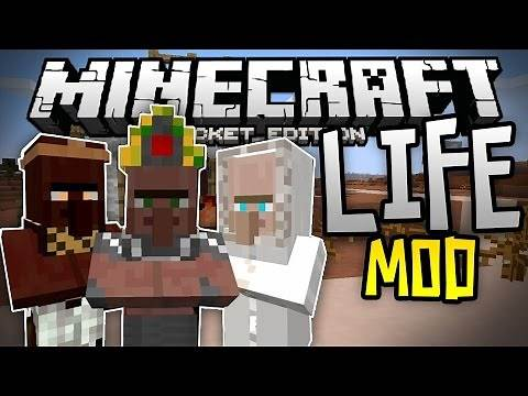 THE BEST MCPE MOD EVER!! - The Life Mod - New Villagers & Structures - Minecraft PE (Pocket Edition)