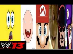 WWE 13 Spongebob VS Finn VS Mario VS ET VS Daredevil VS Waluigi