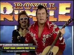 The Hart Foundation and Honky Tonk Man look forward to the 1990 Royal Rumble Match