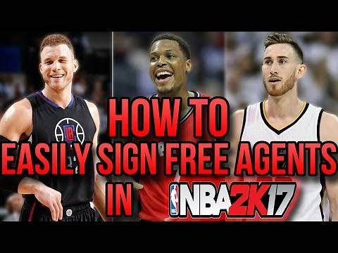NBA 2K17|HOW TO EASILY SIGN FREE AGENTS IN MY LEAGUE|FREE AGENCY