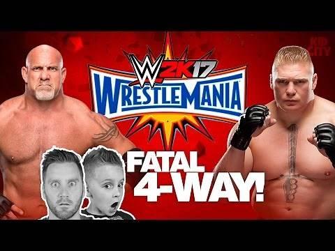 Wrestlemania Match! Goldberg vs Brock Lesnar vs KIDCITY | Let's Play WWE 2k17
