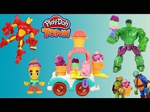 Play-Doh Town Ice Cream Truck, Hulk, Iron Man, and Ninja Turtles are hungry for ice cream.
